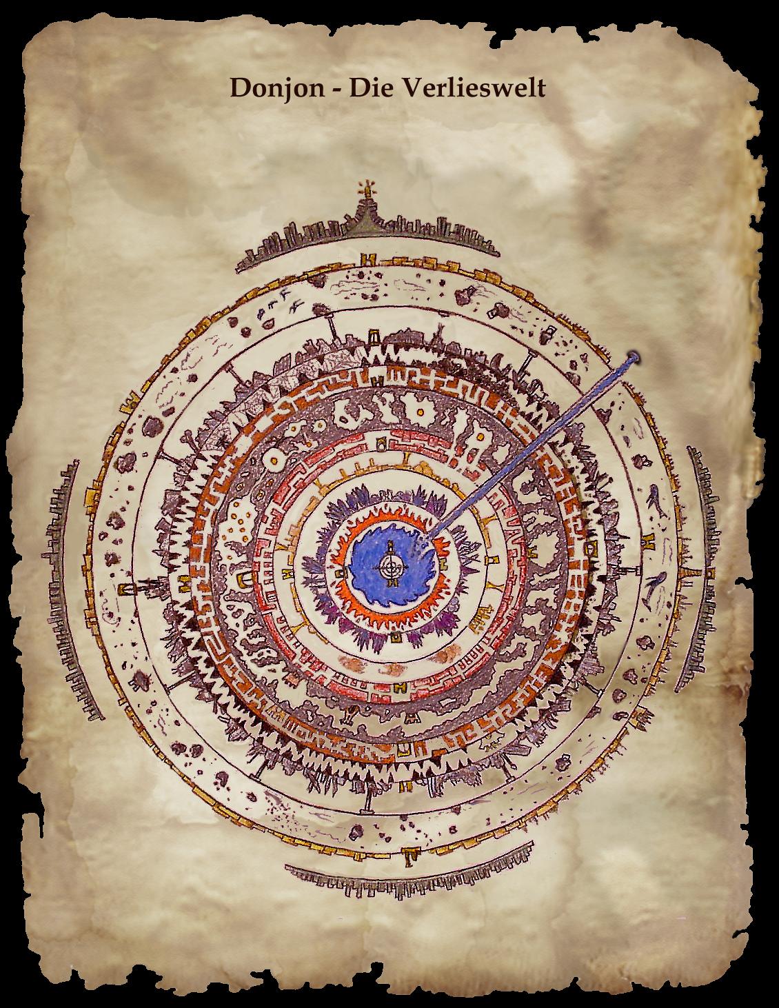 Donjon - die Verlieswelt. Diese Karte stammt aus den Händen der 'Konstrukteure', den Erbauern der Verlieswelt. Sie befindet sich inzwischen im Besitz der Könige von 100 Höhlen.